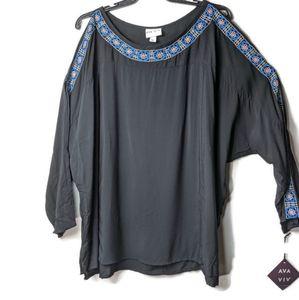 Ava & Viv Cold Shoulder Embroidered Blouse